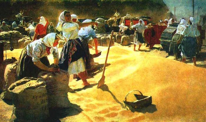 Уборка урожая в колхозе, конец 30-х