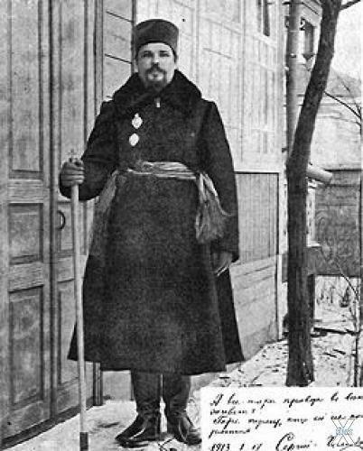 Бывший иеромонах Илиодор Труфанов в Мариинской станице после расстрижения. 17 января 1913 года
