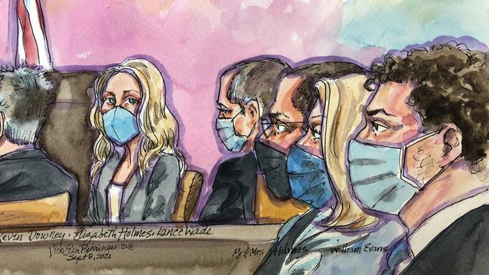 Элизабет Холмс в зале суда.
