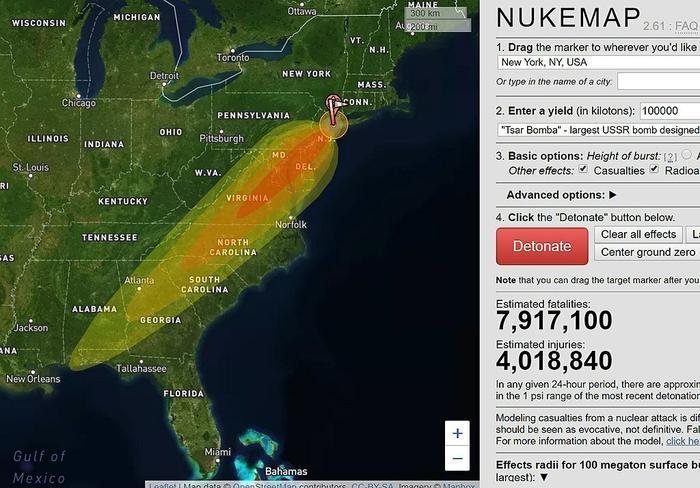 Модель NukeMap радиоактивного заражения от 100 Мт взрыва без усиления «кобальтовой бомбой» при взрыве в бухте у Нью-Йорка. Около 8 млн погибших, 4 млн тяжело раненных и 16 млн человек, получивших значительную дозу радиоактивного заражения.