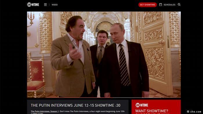 Скриншот рекламы англоязычной версии фильма Стоуна о Путина