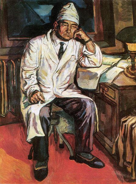 "А.А.Аканаев ""Портрет хирурга Кукоева"" 1974 г. Источник: https://forum.artinvestment.ru/"