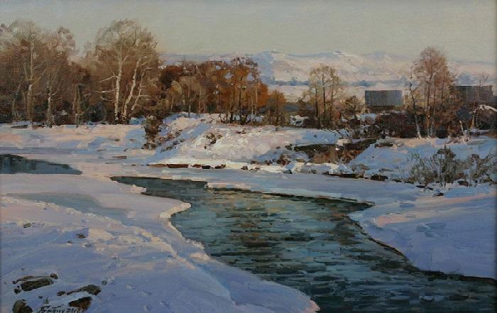 «Горная река зимой». Художник: Александр Иванович Бабич.   Фото: art-katalog.com.
