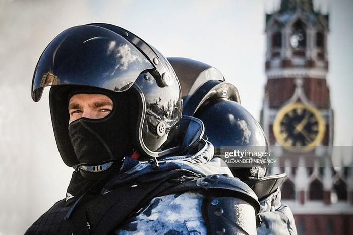 Russian riot policemen