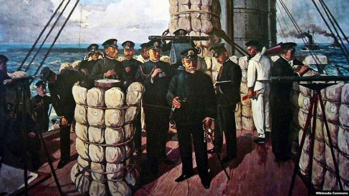 "Хэйхатиро Того на мостике флагманского броненосца ""Микаса"", картина Сётаро Тодзё, 1906 год"