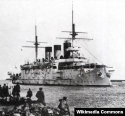 Эскадренный броненосец Ослябя покидает Бизерту, 27 декабря 1903 года.