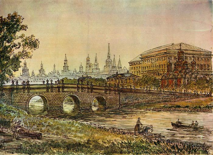 Кузнецкий мост в 17 веке, рисунок К.К. Лоляло.