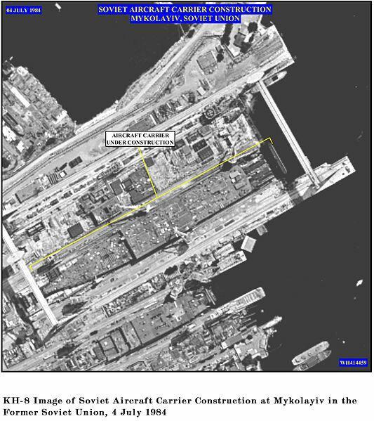 """Спутниковые фотографии постройки корабля """" Адмирал Кузнецов"""" просочились в Jane's Defense Weekly в 1985 году"""
