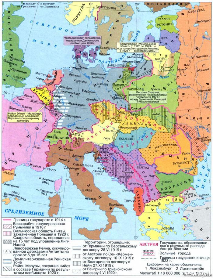 Европа после Первой Мировой Войны.