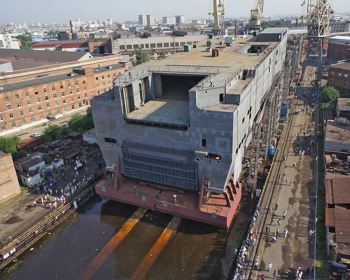 Строительство кормовой части «Мистраля» на Балтийском заводе