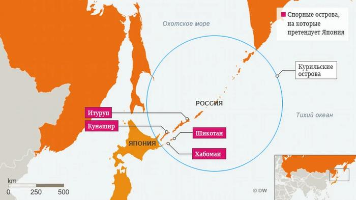 территориальные претензии у Японии к России (изображение взято из открытых источников)