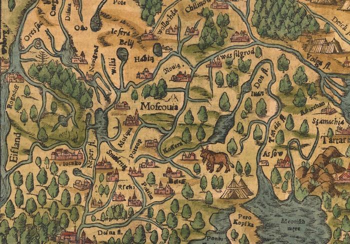 Фрагмент карты Московии немецкого картографа С. Мюнстера, 1545 <br>