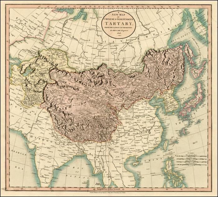 Карта Тартарии английского картографа Д. Кэри, 1806. <br>