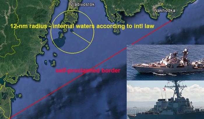 Район в Японском море, где американский эсминец сознательно нарушил территориальные воды России