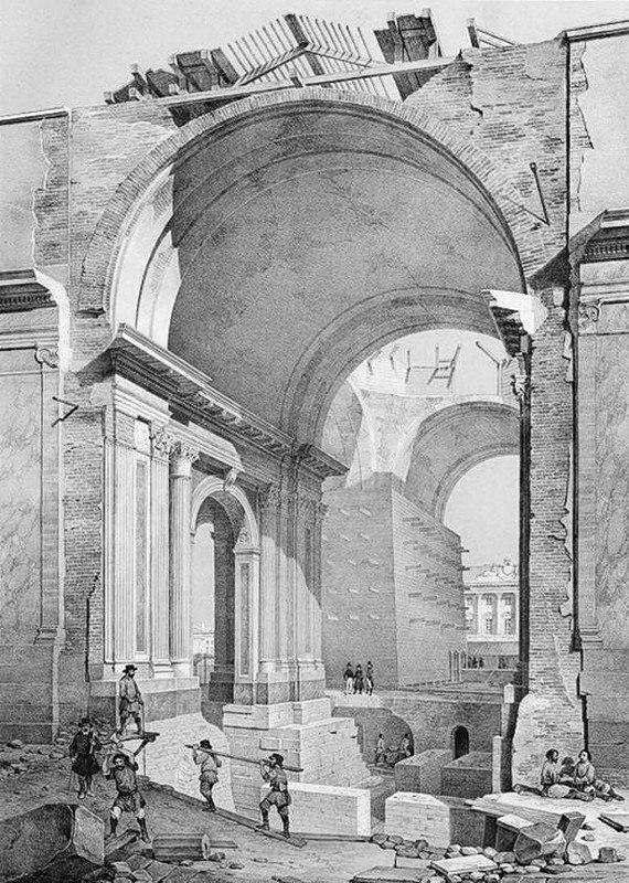 Фрагмент разобранного третьего Исаакиевского собора. Литография по рисунку Монферрана. 1845 год.