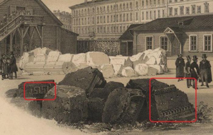 Барак для рабочих и хозяйственные постройки на строительной площадке Исаакиевского собора. Литография Бенуа по рисунку Монферрана. 1845 г.
