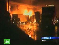 В калифорнийском туннеле столкнулись одновременно 15 грузовиков (видео)