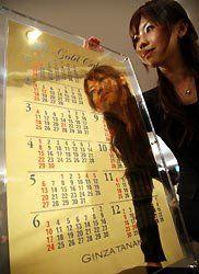 В Японии поступил в продажу настенный календарь на 2008 год из чистого золота (видео)