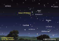 Комету 17P/Holmes можно будет увидеть невооруженным взглядом