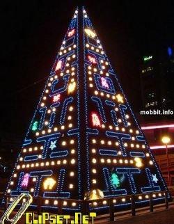Новогодняя елка, посвященная игре Pac-Man (видео)
