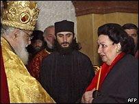 Грузинский патриарх Илия Второй вручил Монсеррат Кабалье икону храма Святой Троицы в Тбилиси