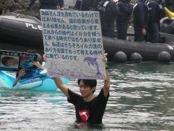 Новость на Newsland: Первый японский активист вышел с протестом против забоя дельфинов