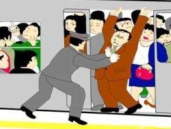 Японское метро: трамбовщики и вагоны только для женщин