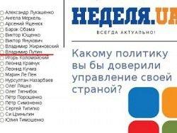 Опрос: 84% украинцев доверяют Путину, а Порошенко 1%.