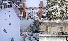 Снегопад парализовал движение в Афинах