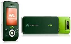 Праздничный Sony Ericsson W580i зеленого цвета