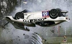 Автомобиль пилота Хантера Эббота сгорел во время гонки (видео)