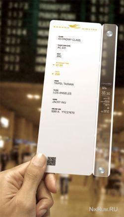 Ticketime - посадочные талоны из электронной бумаги (концепт)