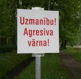 Предупредительный знак в честь агрессивной вороны