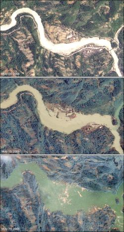 Спутниковые снимки: Китай до и после землетрясения
