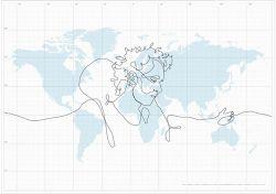 Креативный способ нарисовать автопортрет на карте мира