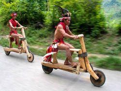 Дикие племена обзавелись деревянными велосипедами