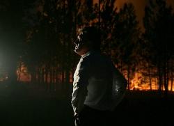 Крупный пожар в лесу под Римом
