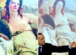Помощники Берлускони закрасили обнаженную грудь на шедевре XVIII века
