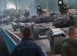 На Цхинвали движется колонна российских танков