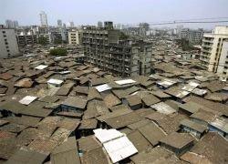 Трущобы на окраине города Мумбаи