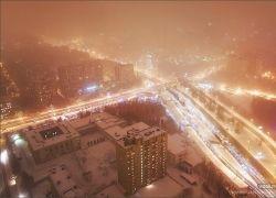 Заснеженные виды московских улиц
