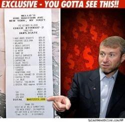 Абрамович пообедал на 52 тысячи долларов