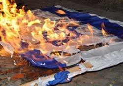 Националисты Украины сожгли флаги России, Израиля и Польши
