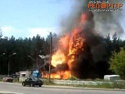Взрыв и пожар на газовой заправке во Владимире