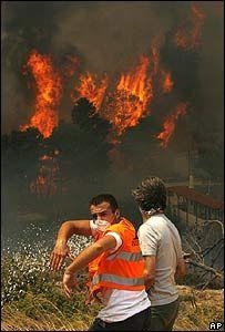 В пригородах Афин бушует сильный пожар