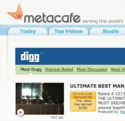 Новый mashup - теперь MetaCafe плюс Digg