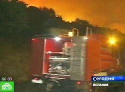Сильный лесной пожар бушует на северо-востоке Испании