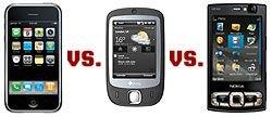 Тест на крутость. iPhone, HTC Touch и Nokia N95