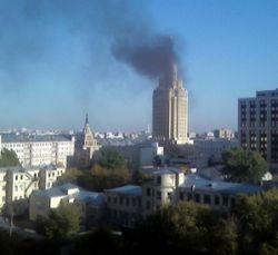 В реконструируемой гостинице «Ленинградская» возник пожар