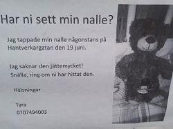 Шведская полиция ищет потерянного плюшевого медведя